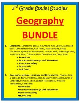 Geography BUNDLE.  3rd Grade SS
