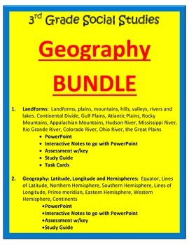 Geography BUNDLE.  3rd Grade SS