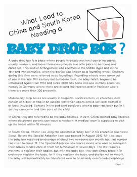 Geography: Baby Drop Box: How China and South Korea Prevent Infanticide