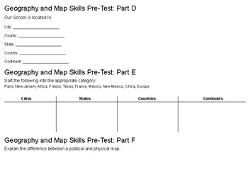 Geography Basics Pre- & Post- Test