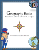Geography Basics Slideshow, Interactive Notebook and Quiz