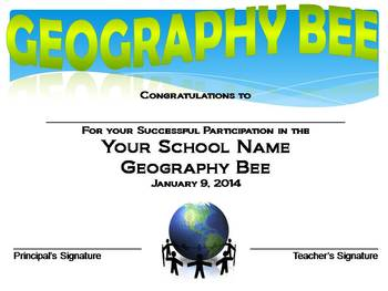 Geography Bee Introduction PowerPoint:  Editable!