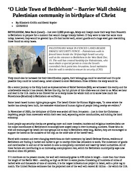 """Geography - """"Bethlehem"""" article and essay rubric"""