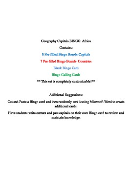 Geography Bingo- Africa Capitals