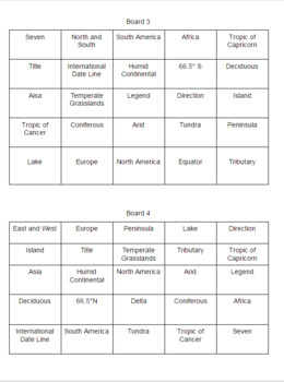 Geography Bingo Boards
