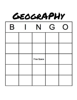 Geography Bingo Game and Lesson Plan