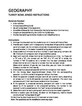 Geography Bingo Trivia Game For Thanksgiving: Turkey Bowl Bingo