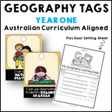 Geography Brag Tags & Goal Sheet for Year 1 linked to ACARA HASS