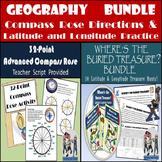 Geography Bundle: 32-Point Compass Rose & 30 Latitude & Longitude Treasure Hunts