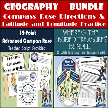 Geography Bundle: 32-Point Compass Rose & 30 Latitude & Lo