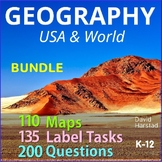 Geography Bundle   Map Skills, Labeling, Questions for Atlas & Internet (K-12)