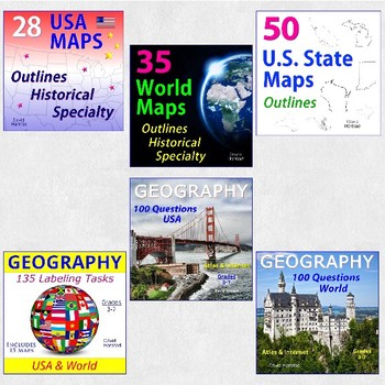 Geography Bundle | Map Skills, Labeling, Questions for Atlas & Internet (K-12)