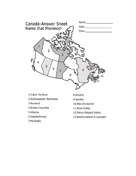 Geography & Canadian History: Canada Provinces and Territories Map Quiz