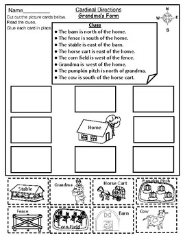 geography map skill cardinal directions cut paste activity worksheets. Black Bedroom Furniture Sets. Home Design Ideas