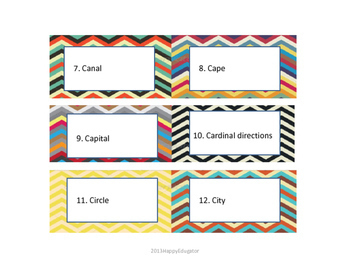 Geography Vocabulary Activity Cards