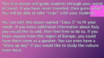 Geography Class 3, Italy
