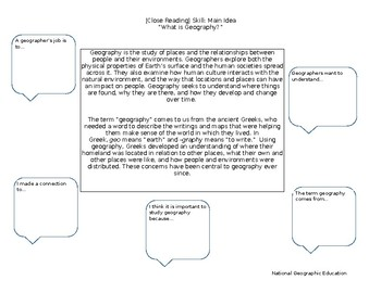 Geography Close Reading Annotation Activity Sheet