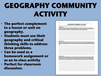 Geography Community Activity - US/Global/World History Common Core