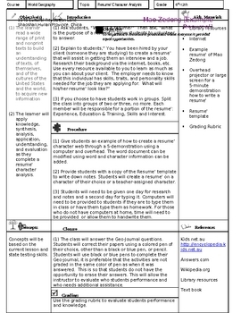 Geography Comprehension: Resume' Character Sketch & Study