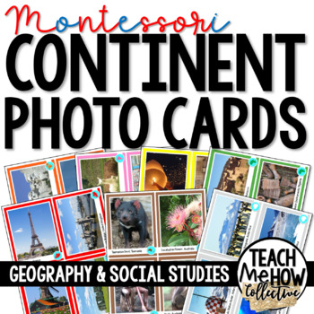 Geography: Continent Picture Cards, Montessori