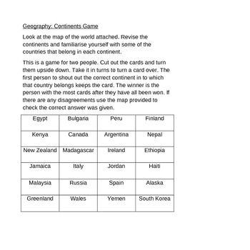 Geography: Continent game