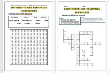 Geography: Countries and Continents Puzzles