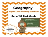 Geography Critical Thinking Questions Task Cards Set 32