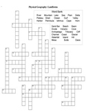 Geography Crossword Puzzle Physical Landforms