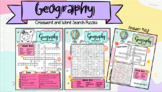 Geography Crossword and Word Search Puzzles