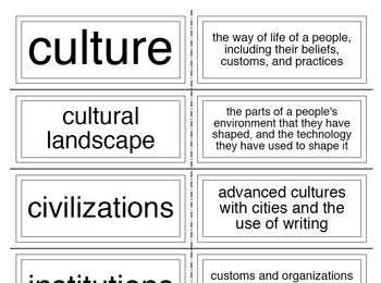 Geography Culture Vocabulary Flash Cards, Study Guide, and Test
