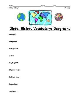 Geography Definitions: Homework Sheet