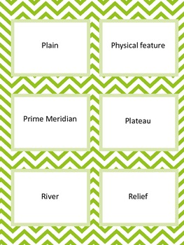 Geography Dictionary Quiz Quiz Trade Cards Set of 52 Chevron Cards