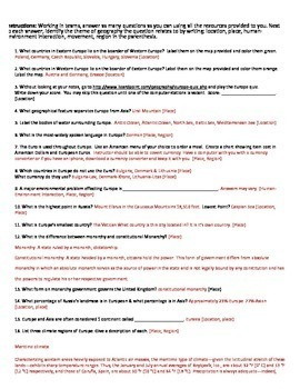 Geography: Eastern & Western Europe Scavenger Hunt (Introductory Activity)