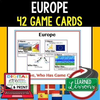Geography Europe 42 I Have Who Has Game Cards