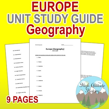 Europe Unit Study Guide (Geography)