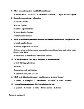 Europe Unit Test / Exam / Assessment (Geography)