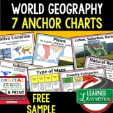 Geography Anchor Charts Sampler Free, World Geography Posters