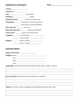 Geography Fill-In Sheet for Research