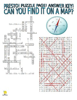 Geography - Find It on a Map Puzzle Page (Wordsearch and Criss-Cross)