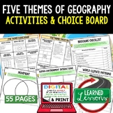 Geography Five Themes Activities, Choice Board, Print & Di
