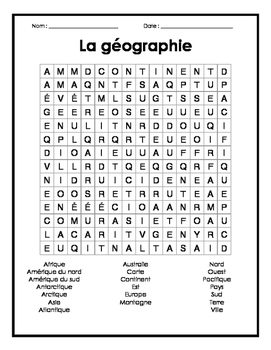 Geography French Word Search Puzzle - Mots cachés français sur la géographie