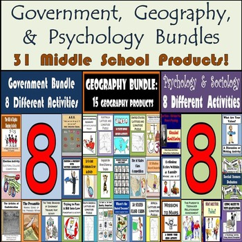 Middle School Geography, Government, and Psychology Bundle -- 31 Products!