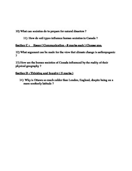 Geography Grade 9 Physical Geography Quiz