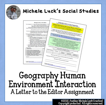 Geography Human Environment Interaction Letter to the Editor Assignment