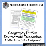 Geography Human Environment Interaction Letter to the Edit