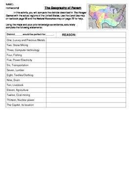 Geography - Hunger Games/ Panem resource map