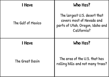 Geography I Have Who Has