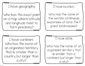 Geography I Have, Who Has? Whole Group Vocabulary