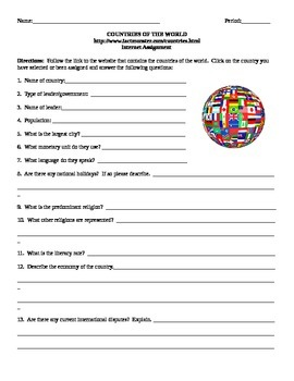 Geography Internet Assignment Countries of the World Middle or High School