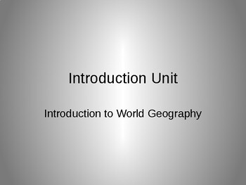 Geography- Intro Unit